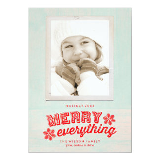 Rustic Merry Everything Christmas Holiday Card Custom Announcement