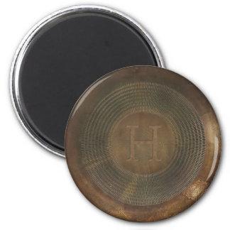 Rustic metal H monogram magnet