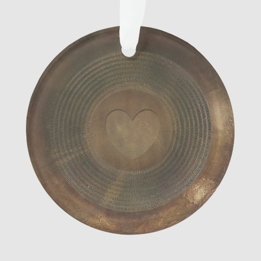 Rustic metal heart round ornament zazzle