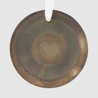 Rustic metal heart round ornament