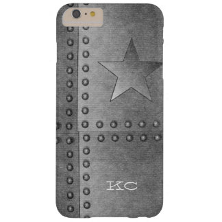 Rustic metal Star black white monogram Barely There iPhone 6 Plus Case
