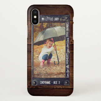 Rustic Metal Wood Effect | Add Your Photo & Text iPhone X Case