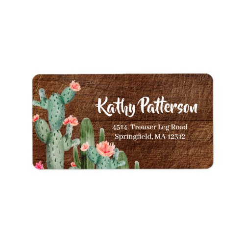 Rustic Mexican Cactus Return Address Label