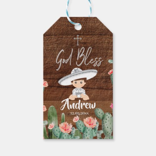 Rustic Mexican Silver Charro Baptism Favor Tag