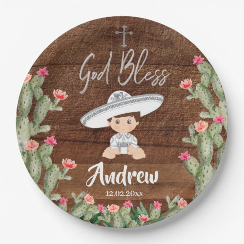 Rustic Mexican Silver Charro Baptism Paper Plate