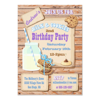 Rustic Milk and Cookies Birthday Party Invitations