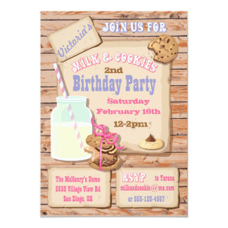 "Rustic Milk and Cookies Birthday Party Invitations 5"" X 7"" Invitation Card"