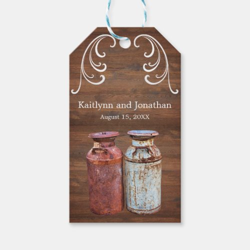 Rustic Milk Cans Vintage Metal Antique Monogram Gift Tags