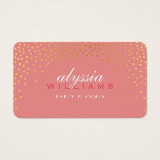 RUSTIC MINI CONFETTI cute gold foil stylish coral Business Card