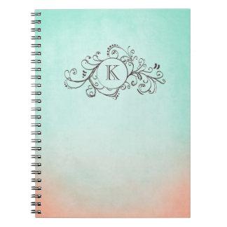 Rustic Mint and Peach Bohemian  Flourish Spiral Notebooks