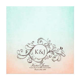 Rustic Mint and Peach Bohemian Guest Book Canvas