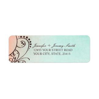 Rustic Mint and Peach Bohemian Return Address Custom Return Address Label