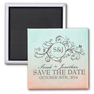 Rustic Mint and Peach Bohemian Save The Date 2 Inch Square Magnet