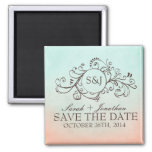 Rustic Mint and Peach Bohemian Save The Date Fridge Magnet