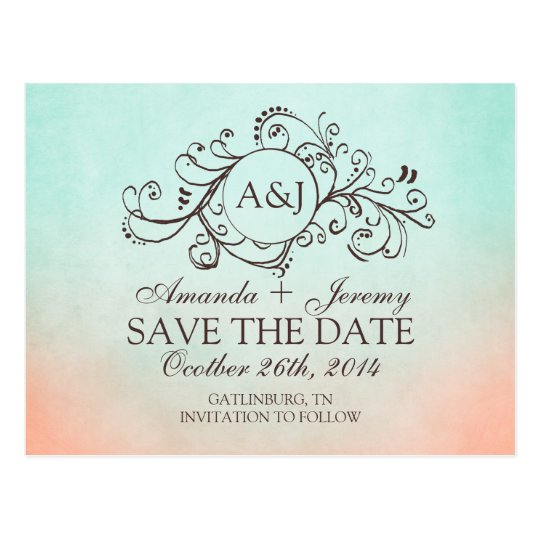 Rustic Mint and Peach Bohemian Save The Date Postcard