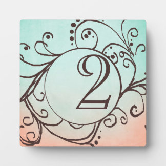 Rustic Mint and Peach Bohemian Table Number Display Plaques