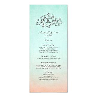 Rustic Mint and Peach Bohemian Wedding Menu Personalized Announcement