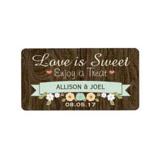 Rustic Mint Boho Love is Sweet Favor Labels