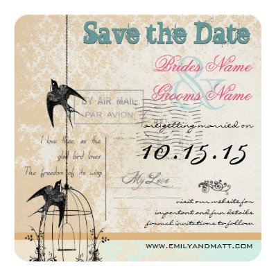 Rustic Mint Damask Birdcage Wedding Save the Date 5.25x5.25 Square Paper Invitation Card