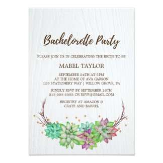 Rustic Mint Floral Succulent Bachelorette Party Card