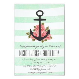 Rustic Mint Romantic Nautical Engagement Invite