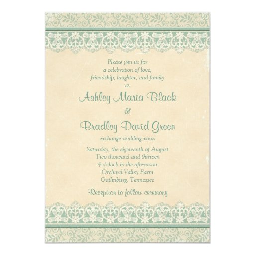 Rustic Mint Sage Ivory Lace Parchment Look Wedding 5x7 Paper Invitation Card
