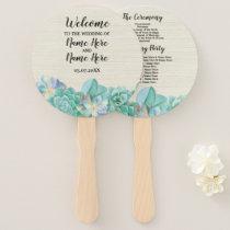 Rustic Mint Succulents Beige Wedding Programme Fan