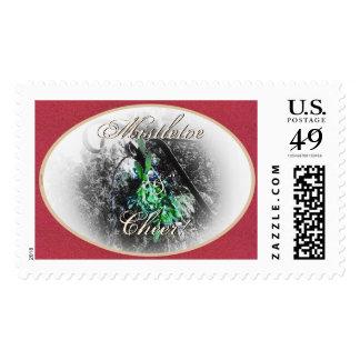 Rustic Mistletoe Yule Winter Solstice Christmas Postage Stamp