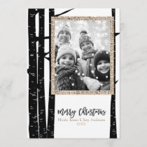 Rustic Modern Black Birch & Burlap Holiday Photo