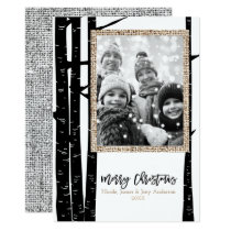 Rustic Modern Black Birch & Burlap Holiday Photo Card