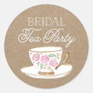 rustic modern bridal tea party bridal shower classic round sticker