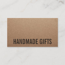 Rustic modern brown kraft paper handmade cardboard business card