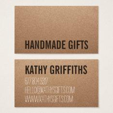 Rustic Modern Brown Kraft Paper Handmade Cardboard Business Card at Zazzle