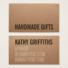 Kraft business cards templates zazzle rustic modern brown kraft paper handmade cardboard business card reheart Image collections