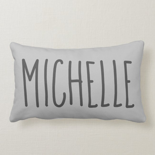 Rustic Modern Chic Grey Add Name Lumbar Pillow