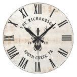 Rustic Modern Custom Family Name Farmhouse Large Clock