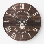 Rustic Modern Custom Family Name Farmhouse Wood Large Clock