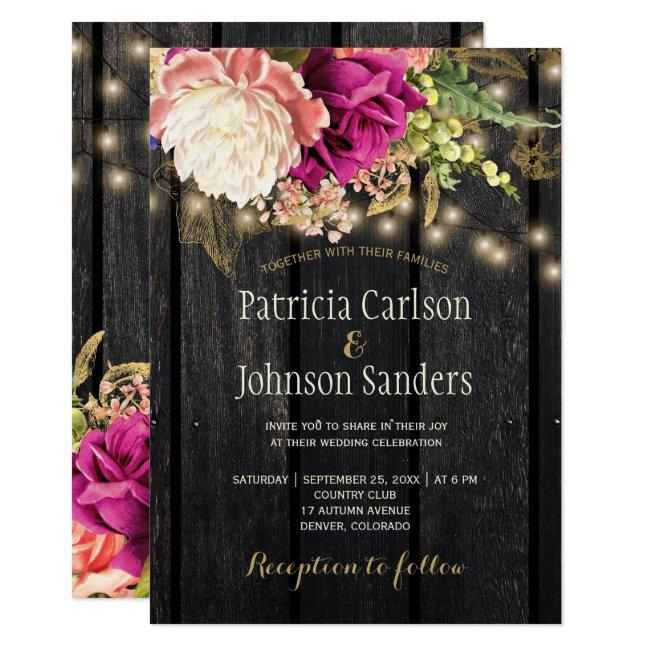 Rustic modern elegant flowers wood lights wedding invitation
