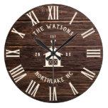 Rustic Modern Farmhouse Custom Family Name Retro Large Clock