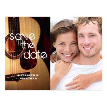 Wedding Themed Rustic Modern Guitar Musical Save The Date Photo Postcard
