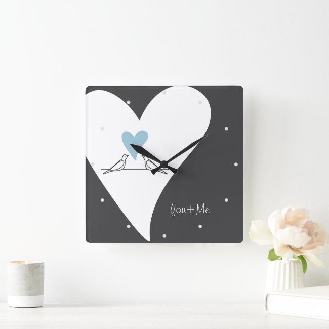Rustic Modern Light Blue Heart Love Birds