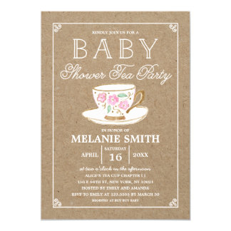Rustic Modern Tea Party | Baby Shower Card