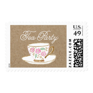 Rustic Modern Tea Party Postage