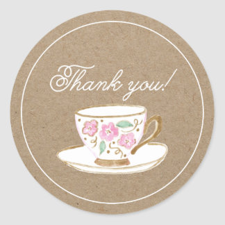 Rustic Modern Tea Party Thank You Classic Round Sticker