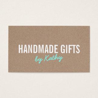 Rustic modern teal brown kraft paper handmade diy business card