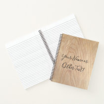 Rustic Modern Unfinished Wood Pattern Printed Notebook