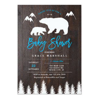 Rustic Mom and Baby Bear Baby Shower Invitation