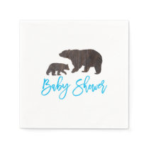 Rustic Mom and Baby Bear Baby Shower Napkin