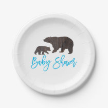 Rustic Mom and Baby Bear Baby Shower Plate