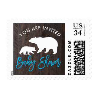Rustic Mom and Baby Bear Baby Shower Postage